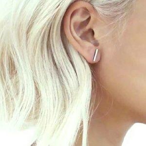 Simple silver bar earrings